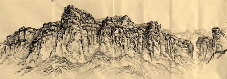 自然造化的亓均写生山水画图片